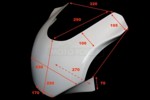 Aprilia RSV Tuono 10000R 2003-2005Vrchní díl racing - maska - GFK sklolaminát - rozměry