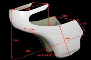 Benelli 250-500 Kapotáž GFK -rozměry