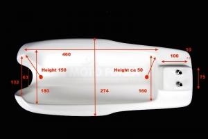 Tank , GRP  Honda 250 350 500 , Honda CB, Honda 500 Hailwood -  dimensions