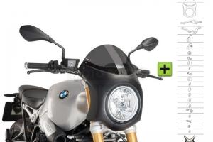 UNI Upper Fairing RETRO SEMI HALF FAIRING - SET- BMW R NINE T 2014-2020 -  light smoke screen