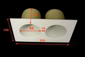 Projector holder - TWIN - 2x90mm - dimensions