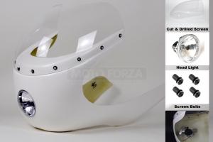 SET - uni Polokapotáž (350) 500-1000cc , předvrtaná kapotáž, předchystané plexi, světlomět 4 3/4 palce, šrouby na plexi