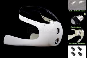 SET - Polokapotáž Universal s vyřezaným a provrtaným plexi, světlometem 2x50mm, držáky pro světlomet, šrouby na plexi, vhodné pro cafe racer