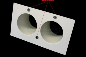 Projector holder - TWIN - 2x90mm - including whell nuts for projector  TWIN