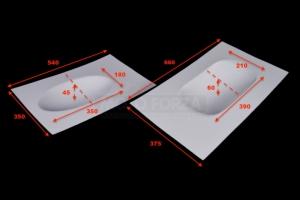 UNI Spodní kryt sedla podběh - užší a širší - rozměry
