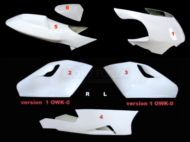 Yamaha YZR 500 1997-2000 Complete set 5-pieces Racing version 3 - Flat sides, GRP